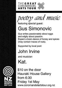 The Great Coromandel Arts Tour-poetry gus Simonovic